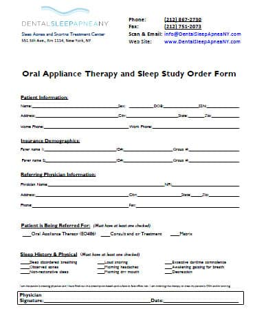 Dental Sleep Apnea NY - Referral Form